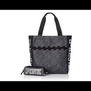 New Victorias Secret PINK tote & pencil case Black